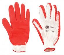 Kertészkesztyű, latex, 8-as méret, piros/fehér