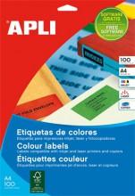 Etikett, 210x297 mm, színes, APLI, sárga, 100 etikett/csomag