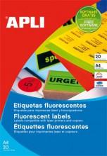 Etikett, 60 mm kör, színes, APLI, neon piros, 240 etikett/csomag