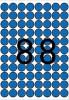Etikett, 16 mm kör, színes, A5 hordozón, APLI, kék, 704 etikett/csomag