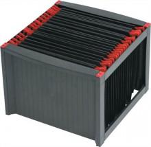 Függőmappa tároló, műanyag, HELIT, fekete-piros